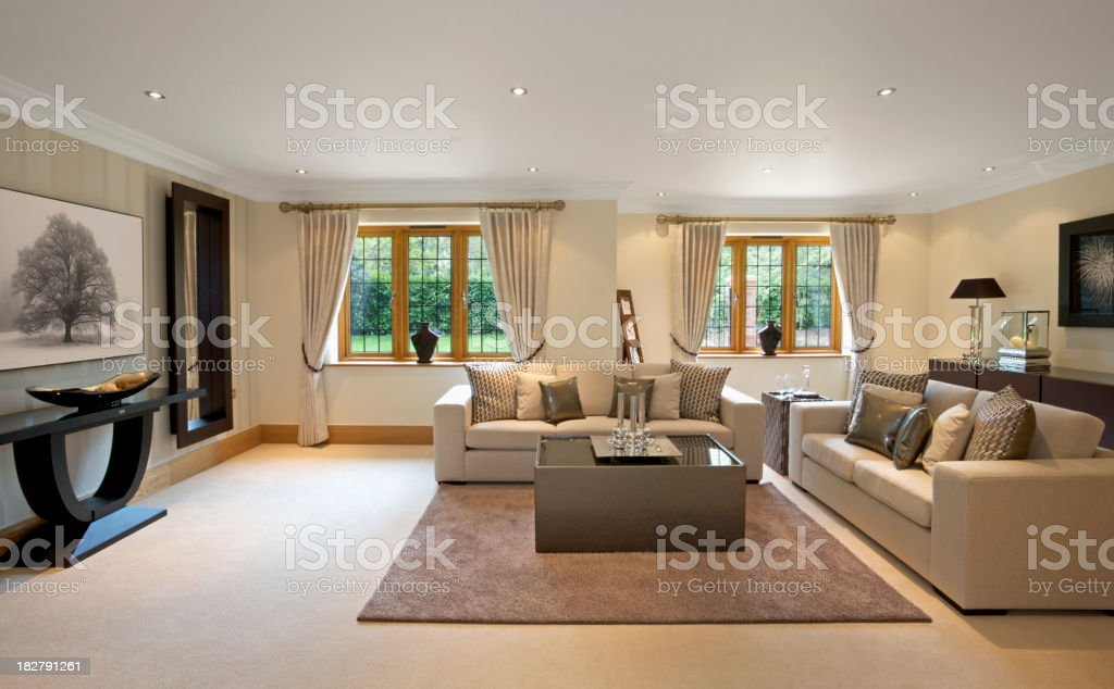 Large, model reception room in luxury home stock photo