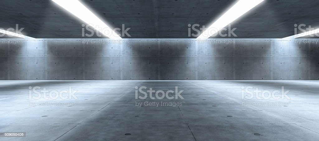 Large modern architecture empty space with concrete walls stock photo