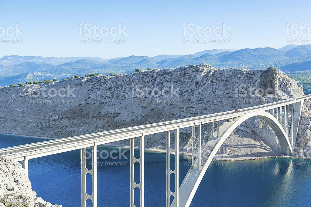 large modern concrete arch bridge stock photo