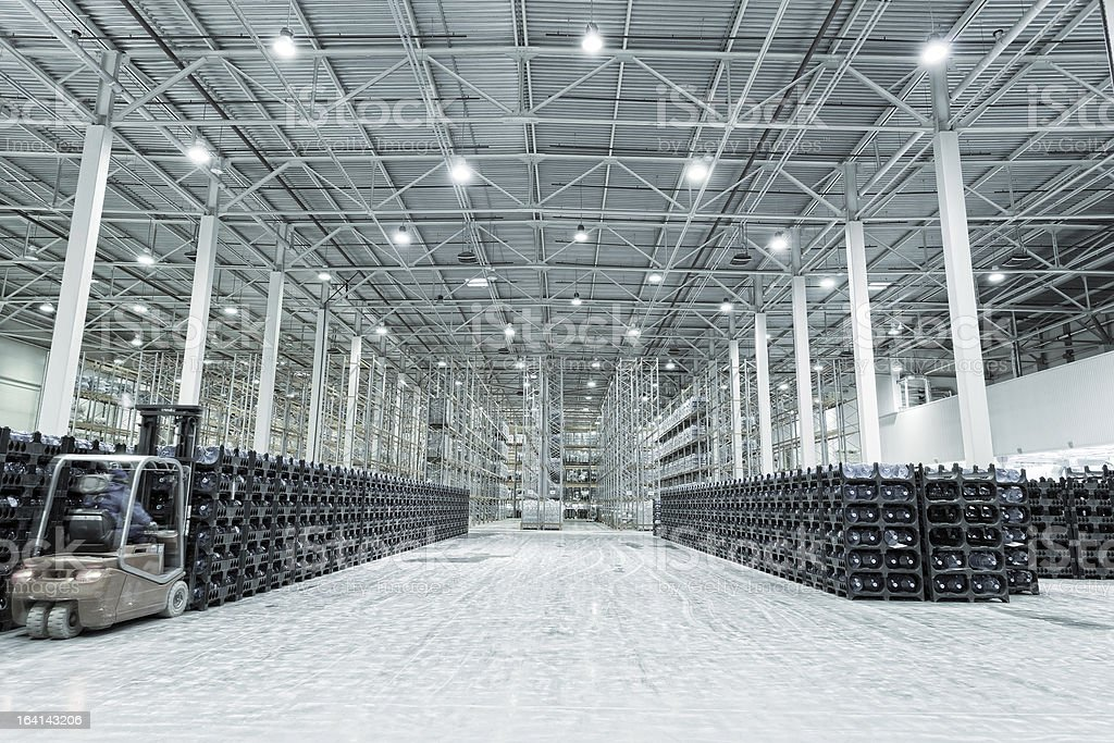 Large modern empty storehouse stock photo