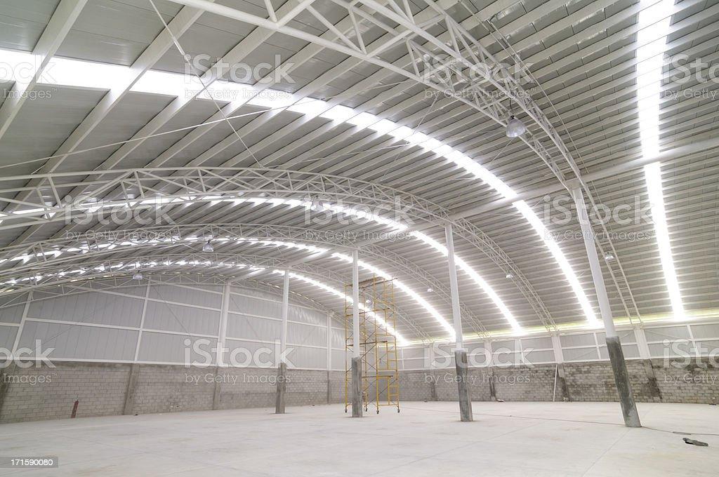 Large modern empty warehouse stock photo