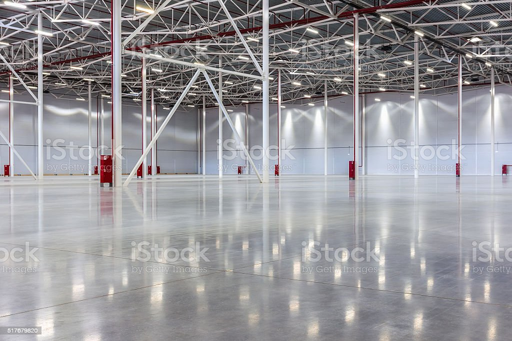 Large modern empty warehouse stock photo