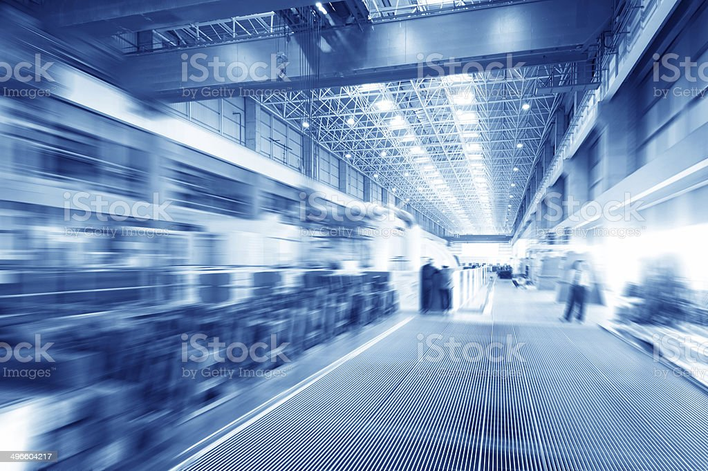 Large modern storehouse with some goods stock photo