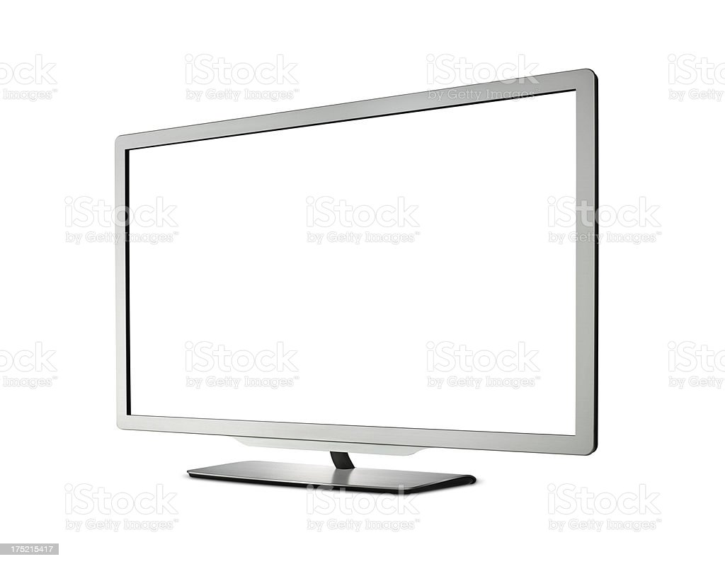 A large modern television with a blank white screen stock photo