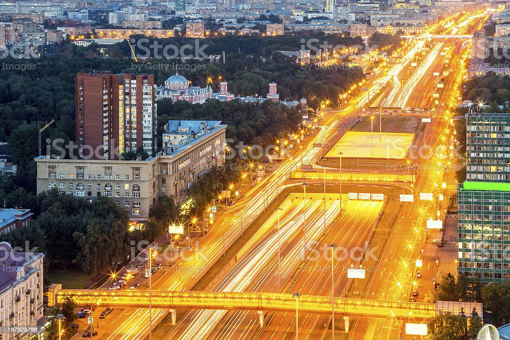 Large Moscow avenue at night royalty-free stock photo