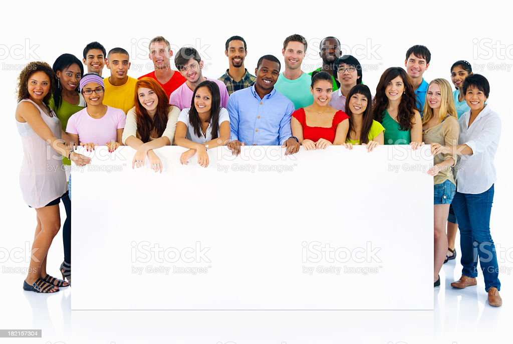 large multi ethnic group of students holding a blank board royalty-free stock photo