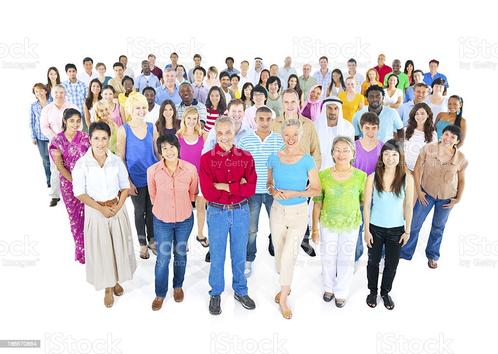 large multi-ethnic group of people royalty-free stock photo