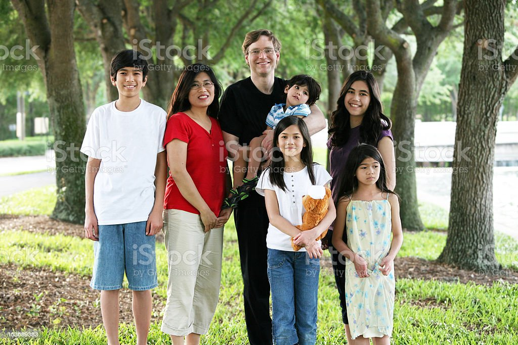 Large multiracial family of seven stock photo