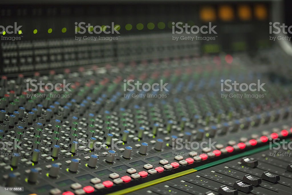 Large Music Mixer desk in recotding studio royalty-free stock photo