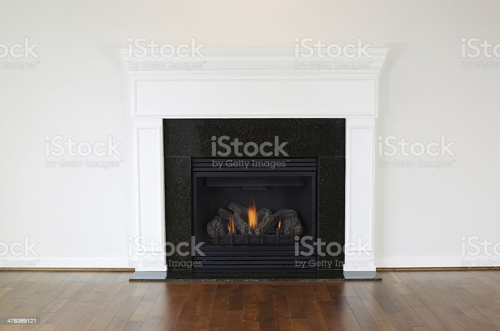 Large Natural Gas Fireplace stock photo