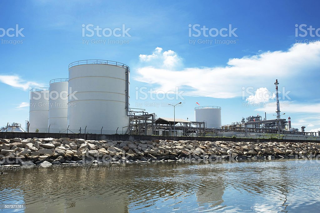 Large natural gas storage tanks stock photo