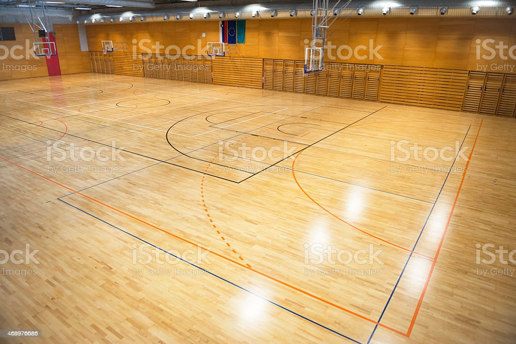 Large New Empty Sports Hall, School Gymnasium, Europe stock photo