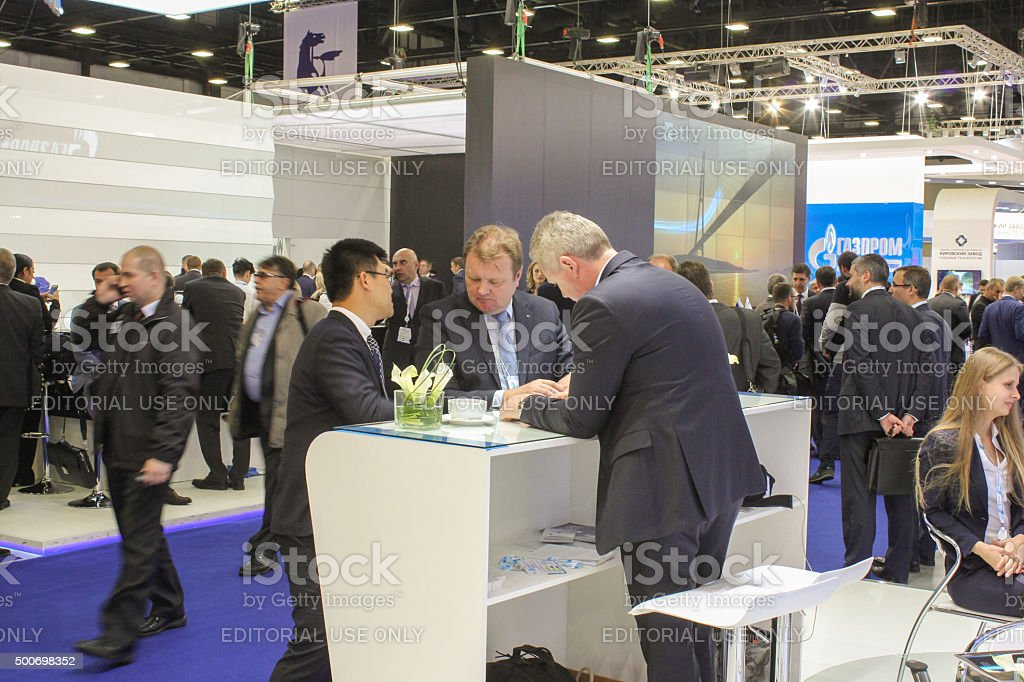 Large number of business people at the Gas Forum. stock photo