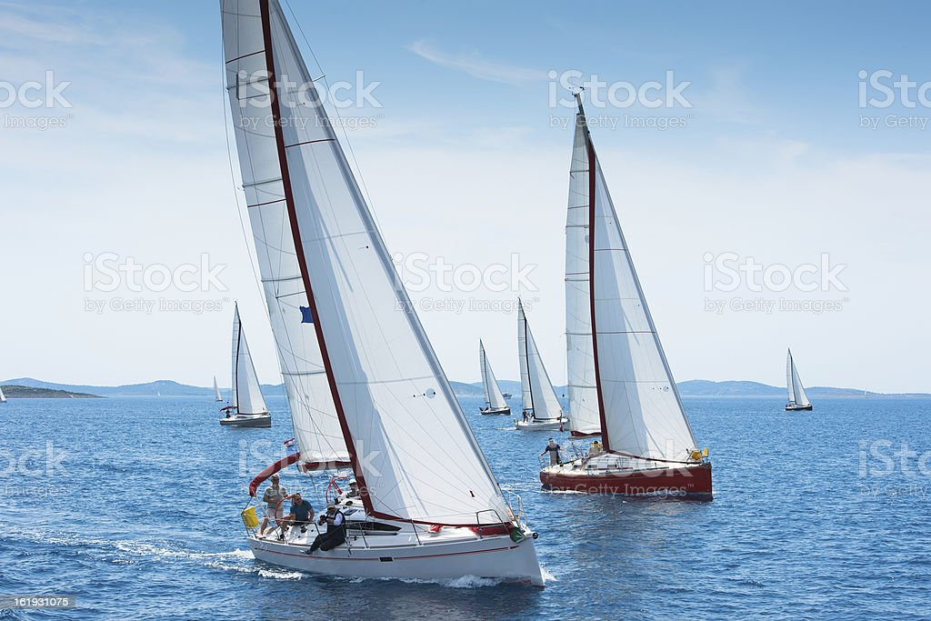 Large number of sailboats racing at regatta stock photo