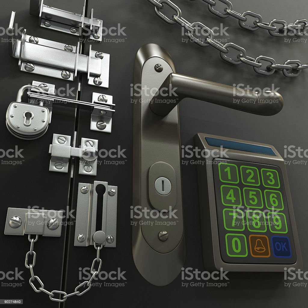 A large number of security items stock photo
