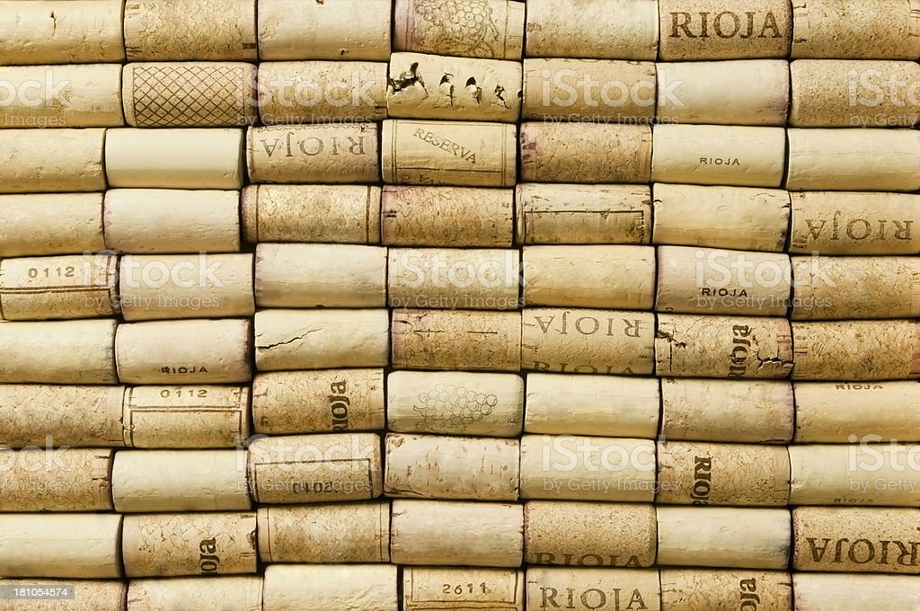 Large number of wine corks lined up filling the frame stock photo