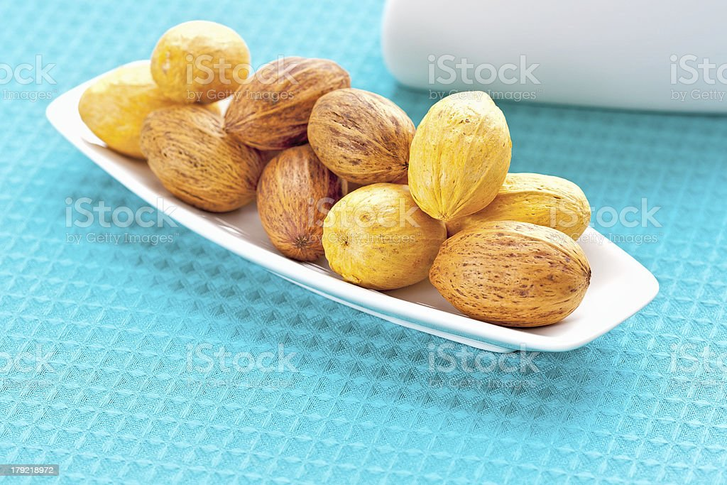 large nuts on a plate royalty-free stock photo