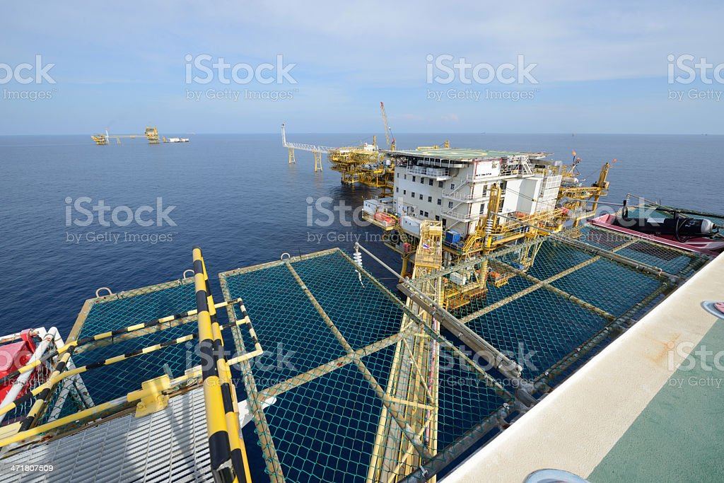 Large offshore oil rig royalty-free stock photo