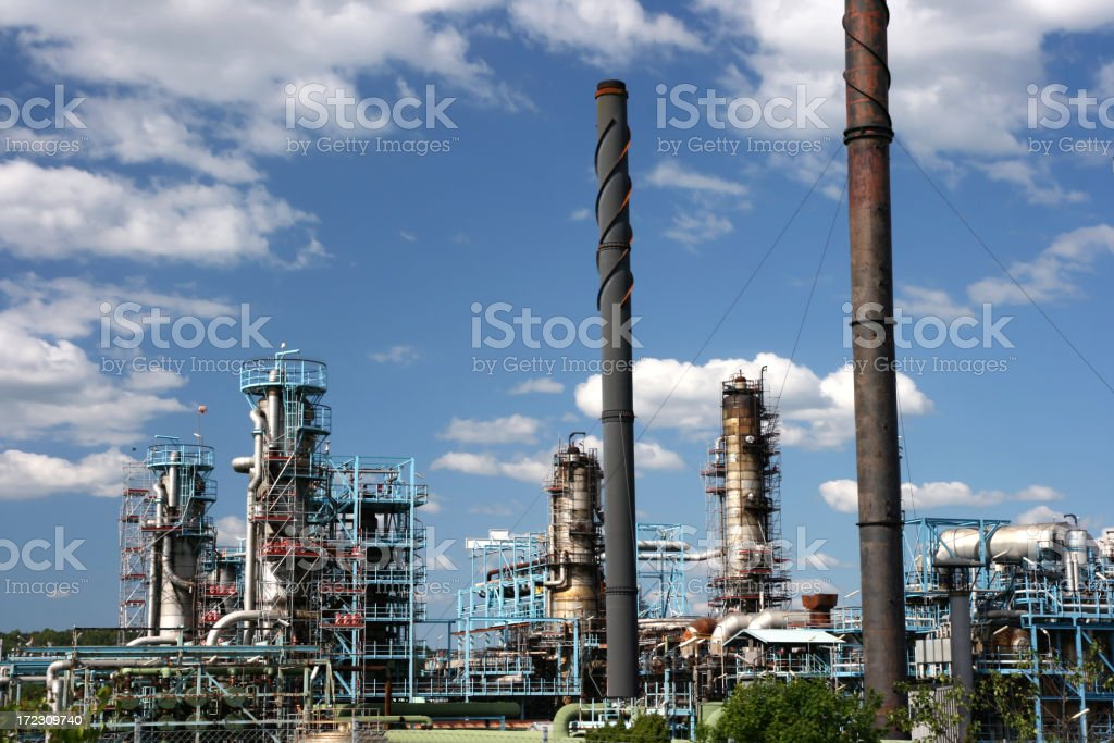Large oil refinery on a beautiful day royalty-free stock photo