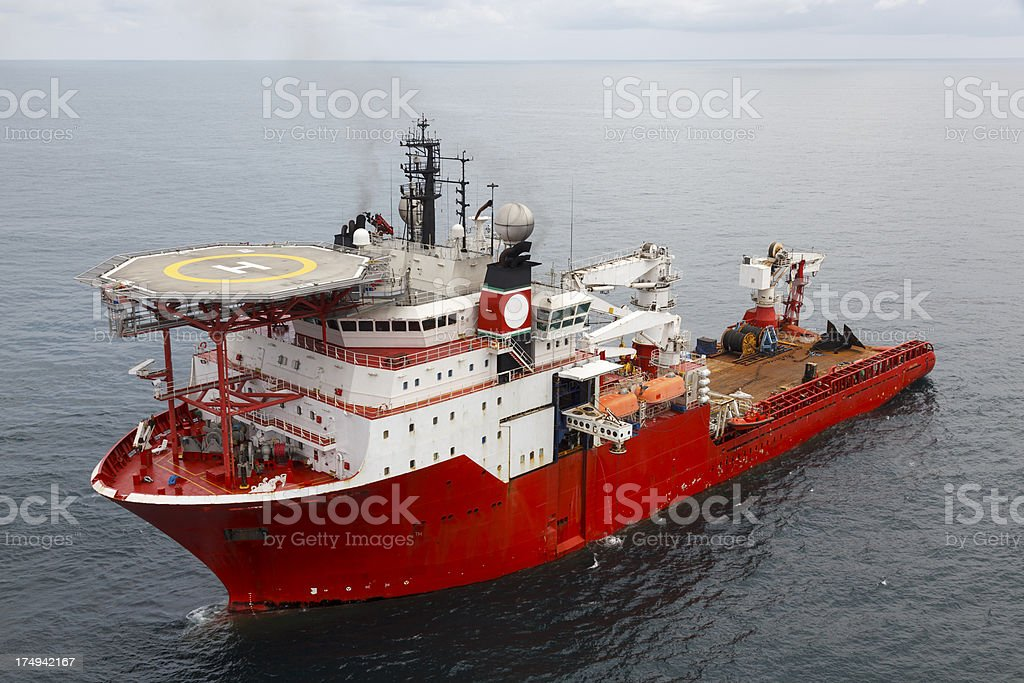 Large Oil Rig Support Vessel stock photo