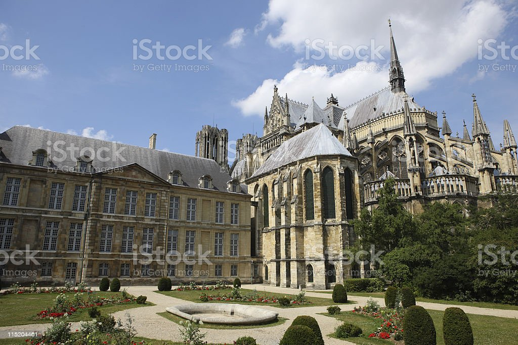 Large old cathedral at Reims, France royalty-free stock photo