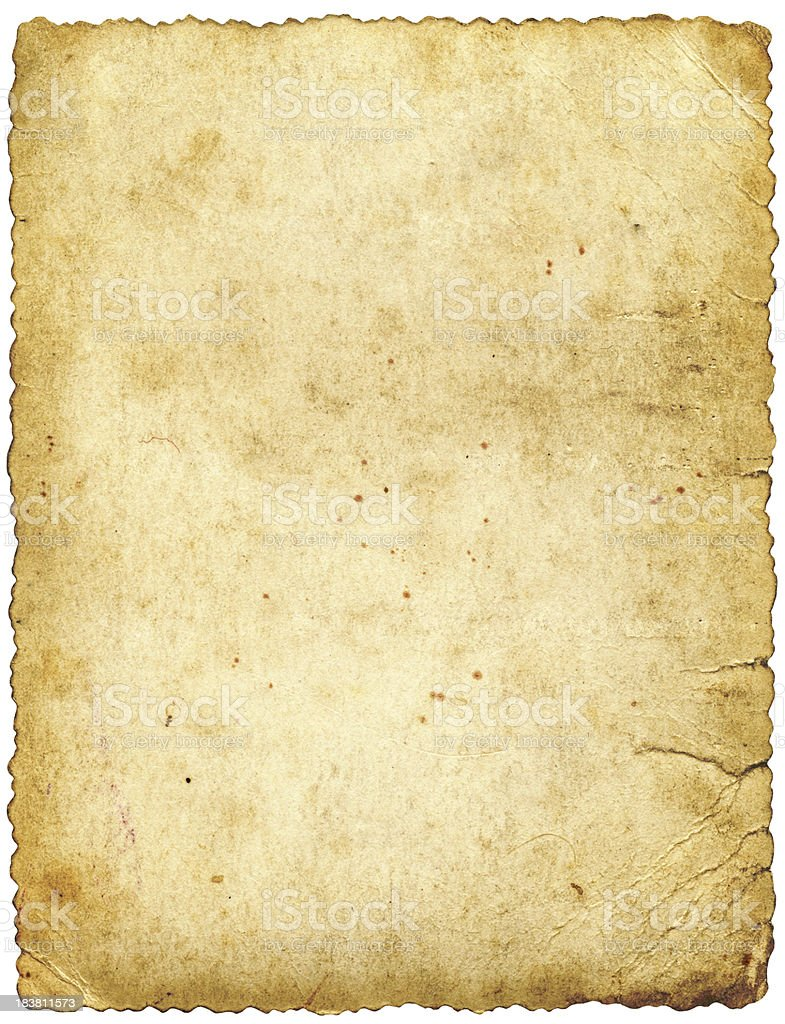 large old paper isolated stock photo