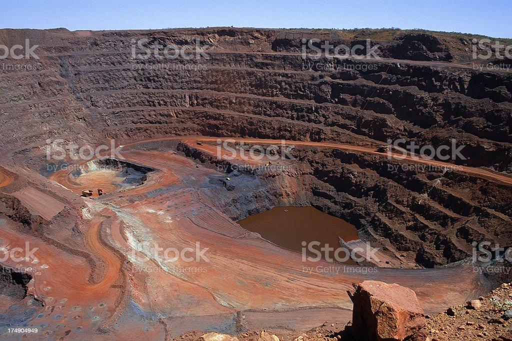 Large open cut iron ore mine stock photo