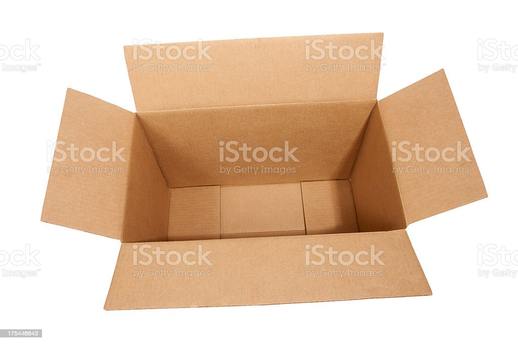 Large Open Empty Cardboard Box stock photo