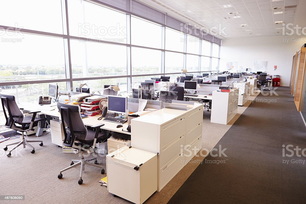 Large open plan office interior without people stock photo for Office interior plan