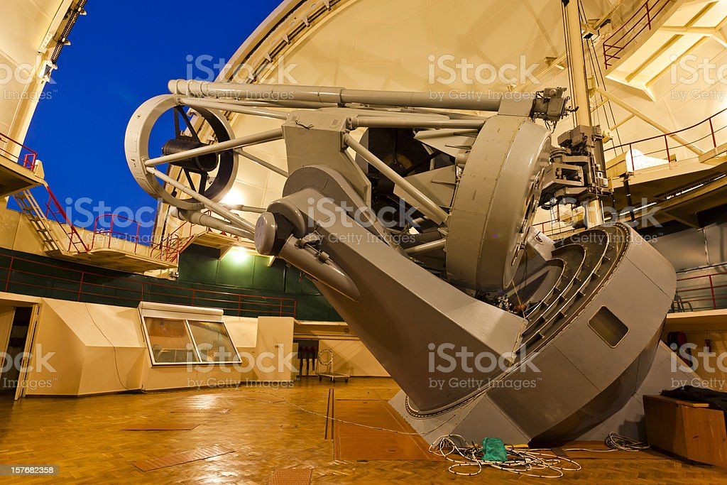 Large optical telescope in Crimean Astrophysical Observatory stock photo