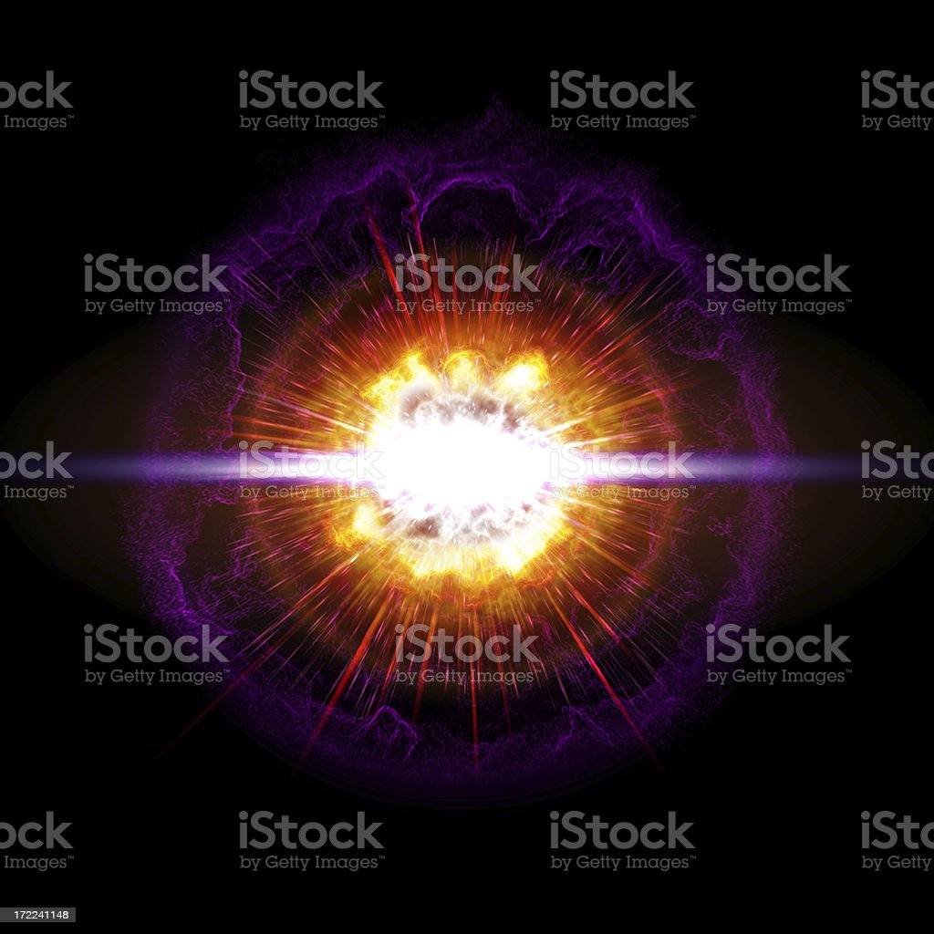 Large orange and purple exploding orb stock photo