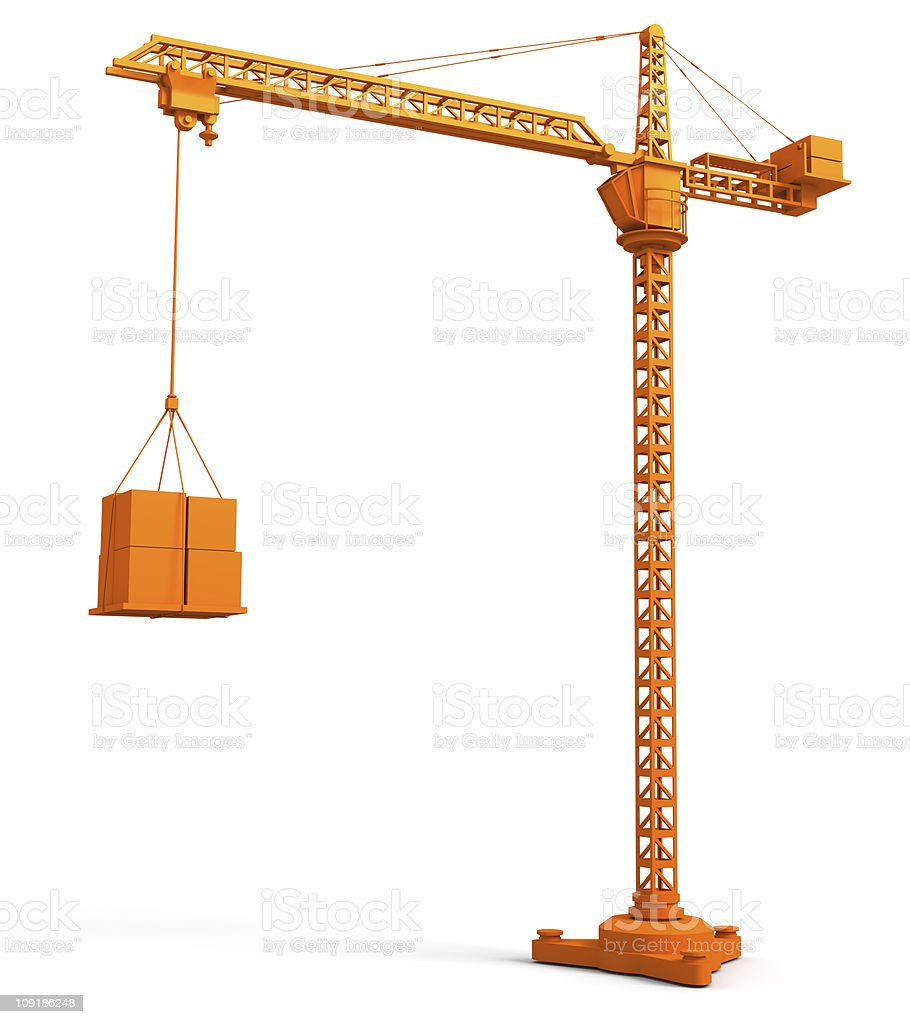A large orange crane lifting packages isolated on white royalty-free stock photo
