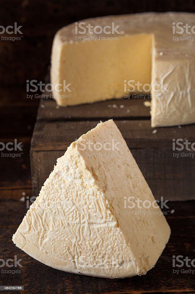 Large Organic White Cheese Wheel stock photo