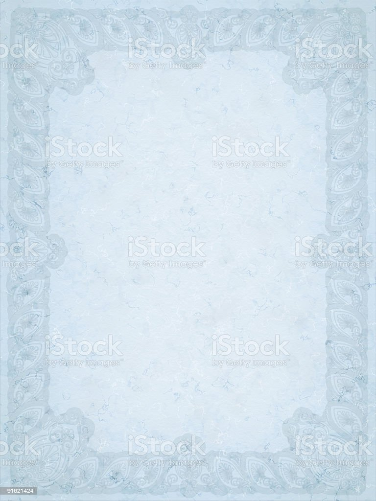 Large ornamented old blue paper stock photo