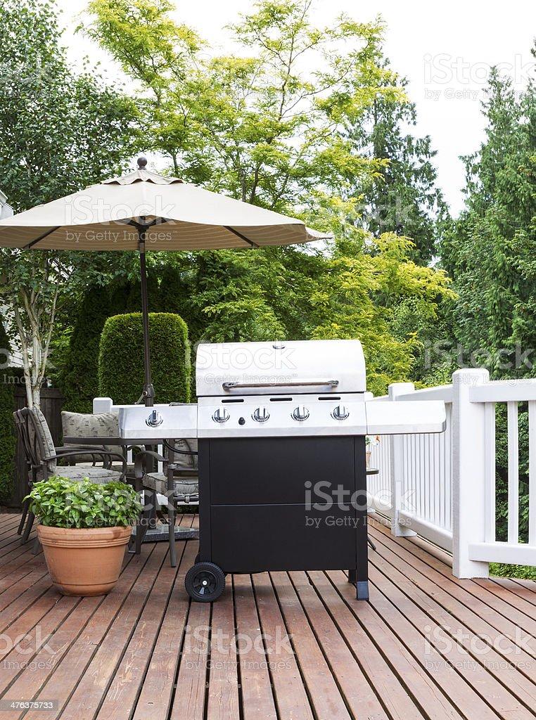 Large Outdoor Cooker on Cedar Deck stock photo