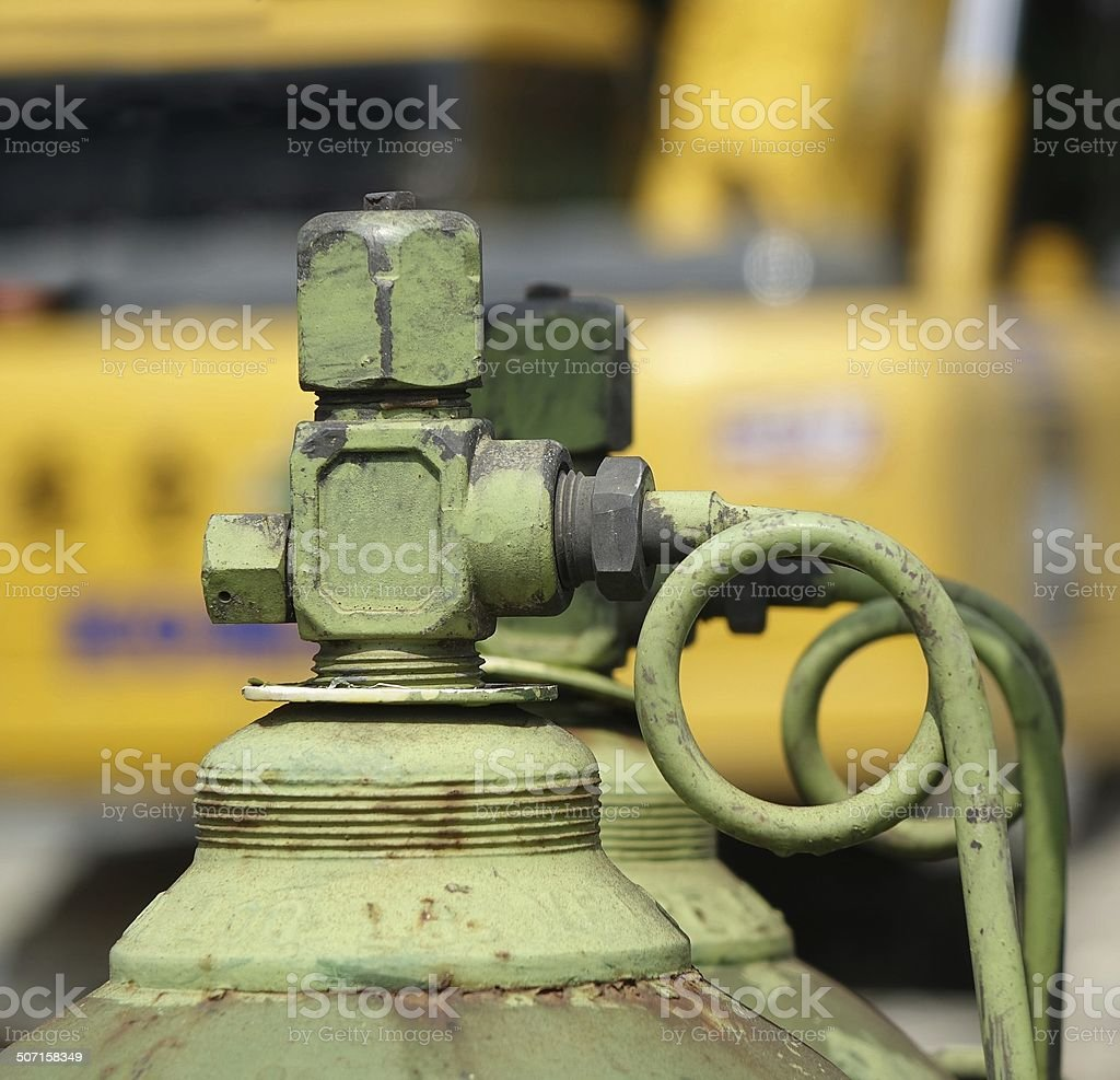 Large Oxygen Bottle at Construction Site stock photo