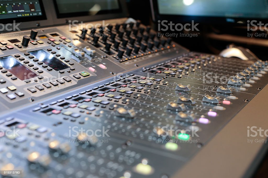 Large panel of the Hi-End stage controller stock photo