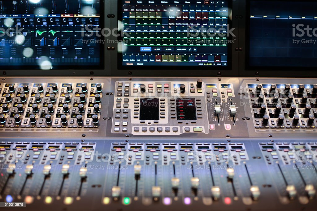 Large panel of the stage controller with screens stock photo