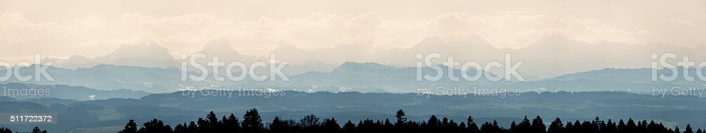 Large Panorama of Alp peaks as seen from Weissenfels. stock photo