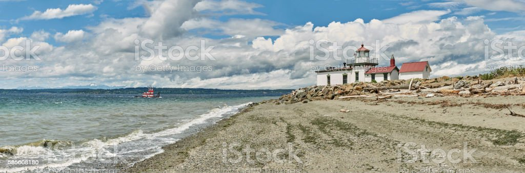 Large Panorama of Discovery Park Lighthouse with boat, Seattle stock photo