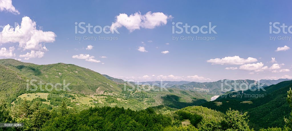 Large panorama of Rodopi Mountain in Bulgaria stock photo