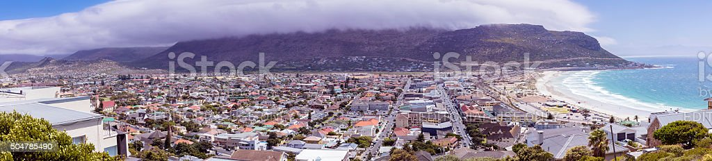 Large panoramic of Fish Hoek and beach view stock photo