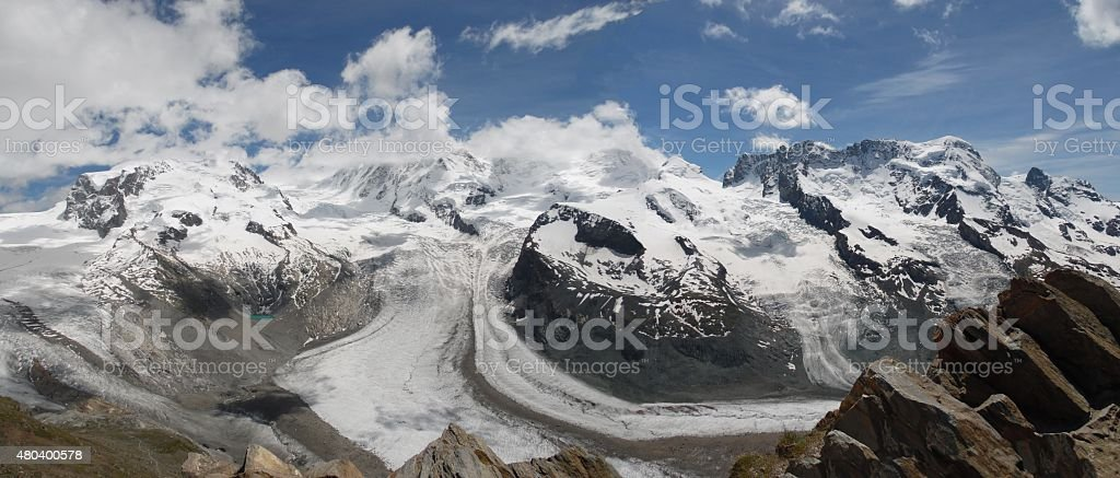 Large panoramic view of Liskamm and monte Rosa stock photo