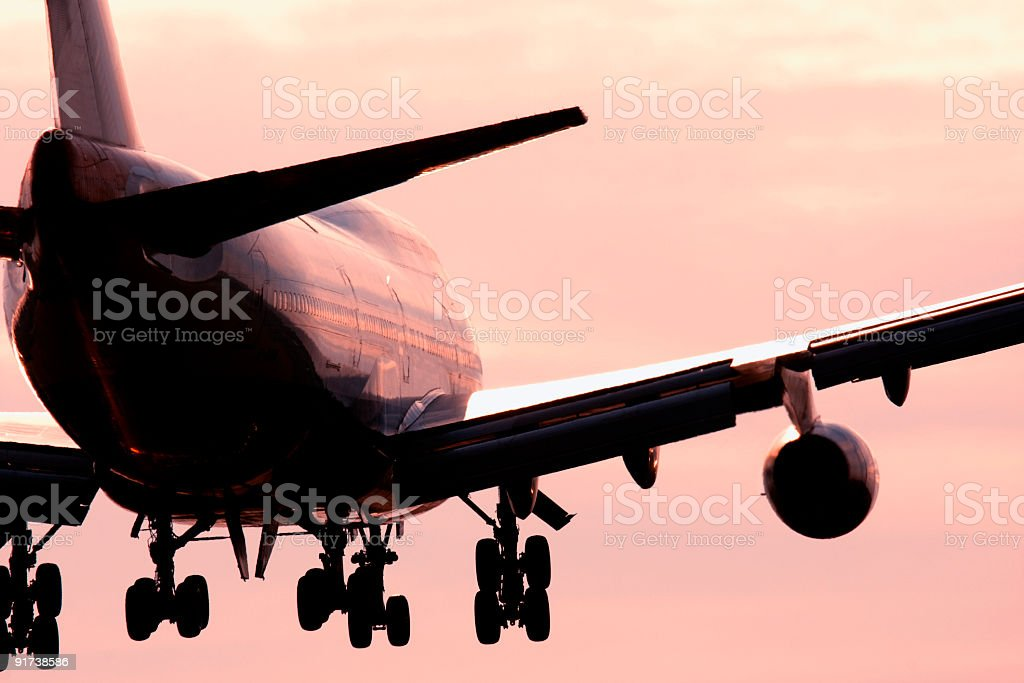 Large passenger airline in the pink sky  royalty-free stock photo