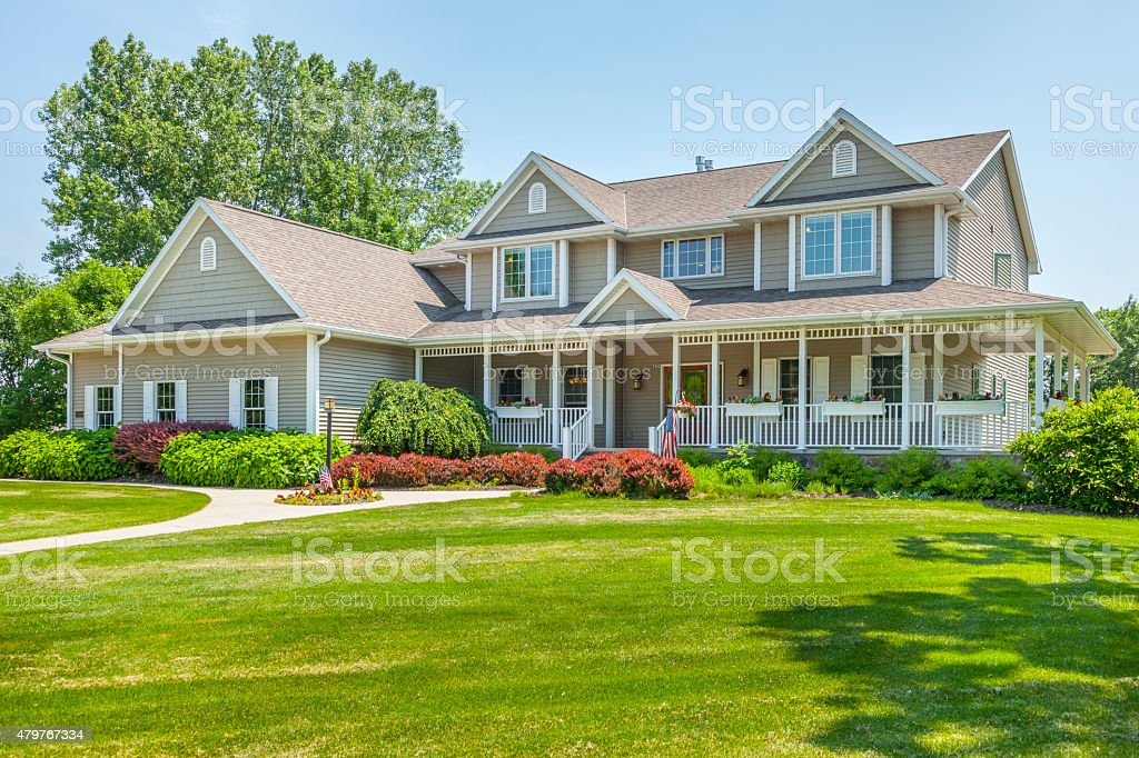 Large, Perfect, Maintenance Free Home With Covered Porch stock photo