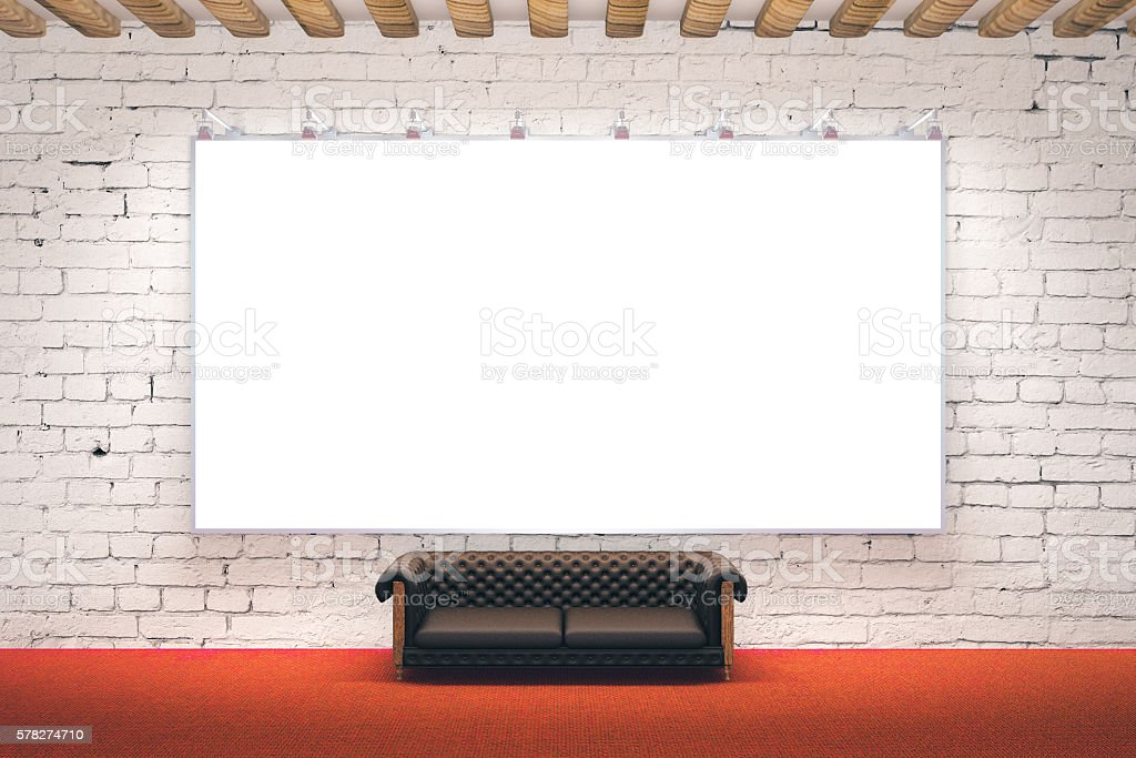 Large picture frame in room stock photo
