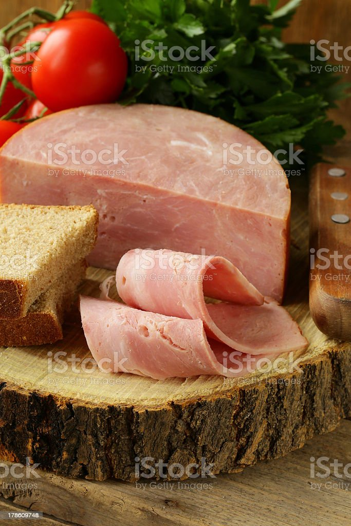 large piece of ham royalty-free stock photo