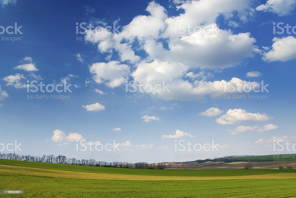 Large piece of land and blue cloudy sky royalty-free stock photo