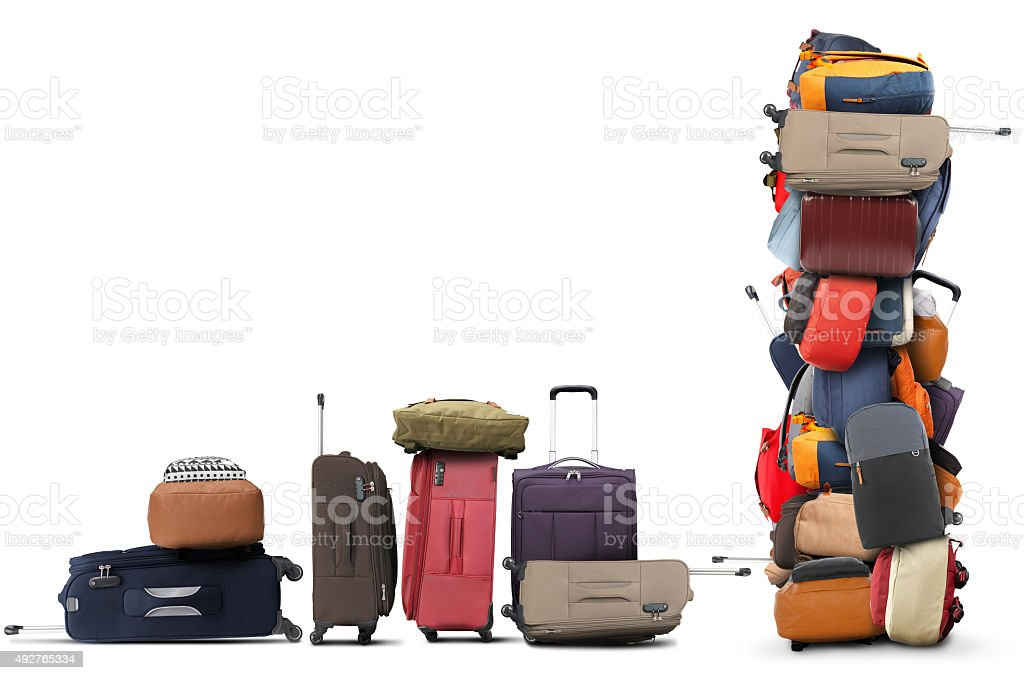 Large pile of bags stock photo
