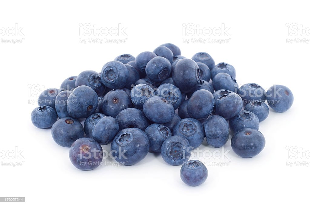 Large Pile of Blueberries Isolated on White royalty-free stock photo